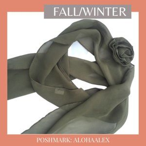 Accessories - BOHEMIAN OLIVE GREEN SCARF WITH FLOWER